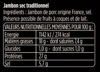 Les Grandes Tranches - Voedingswaarden - fr