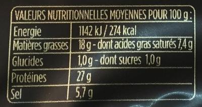 Les Grandes Tranches - Jambon cru - Valori nutrizionali - fr