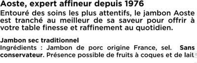 Les Grandes Tranches - 6 - Aoste - Ингредиенты - fr