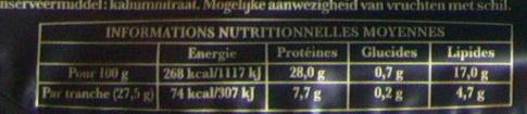 Les grandes tranches 4 +1 tranche gratuite de jambon cru - Informations nutritionnelles - fr