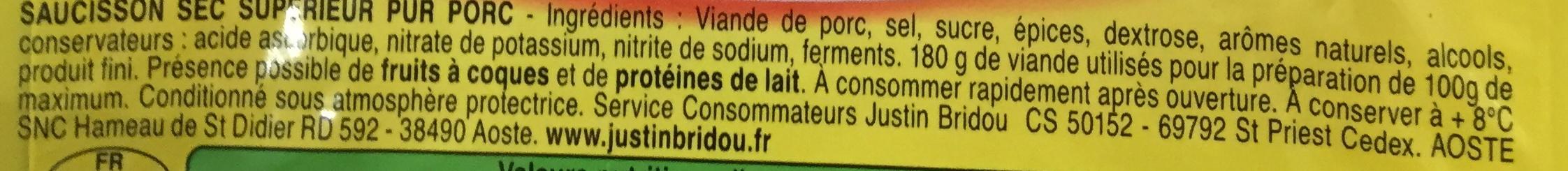Rondelles de Bâton de berger - Inhaltsstoffe - fr