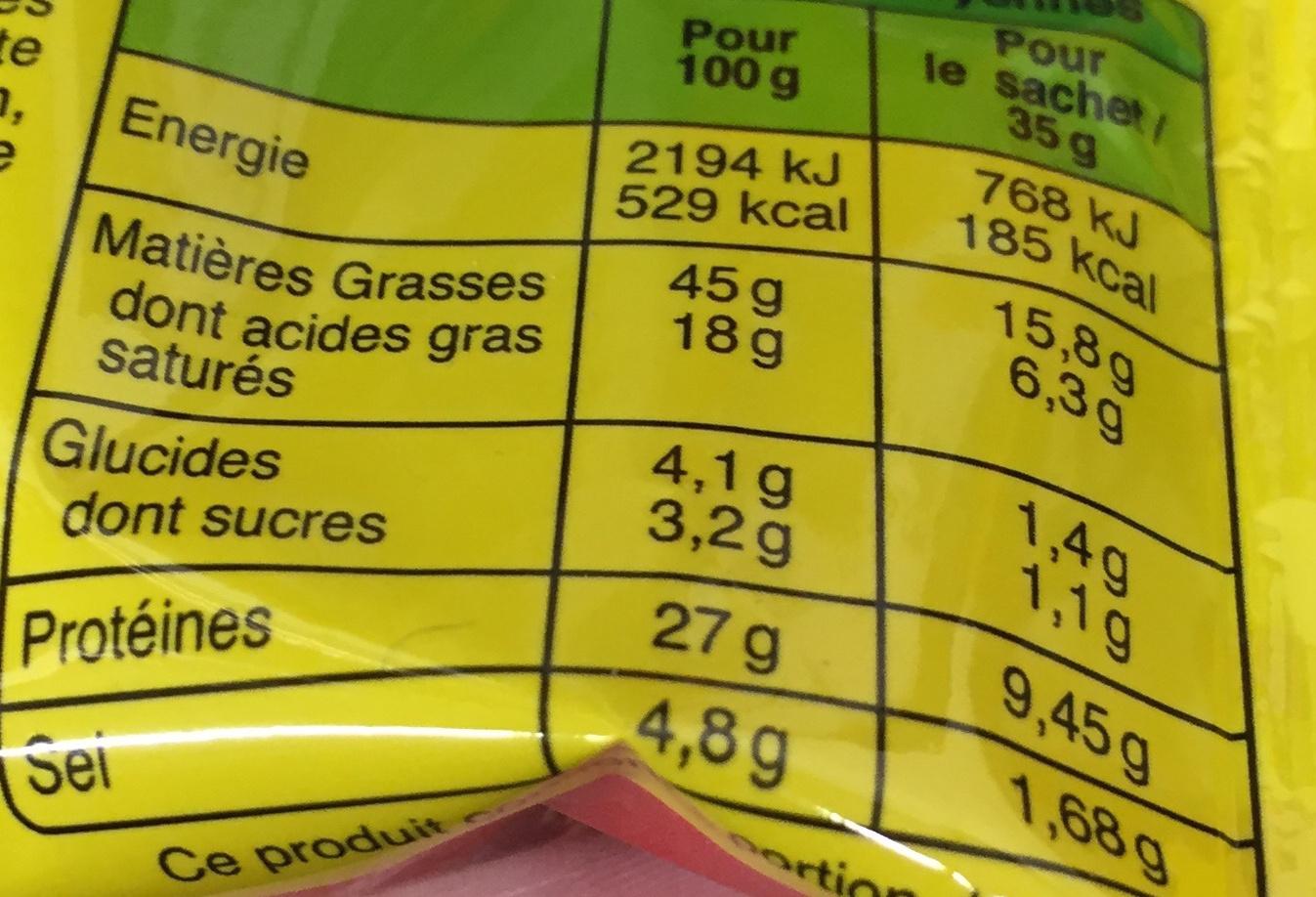 Petits Bâtons de Berger (x 7 environ) - Informations nutritionnelles - fr