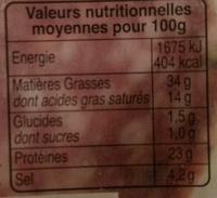Les Belles Tranches Rosette - Valori nutrizionali - fr