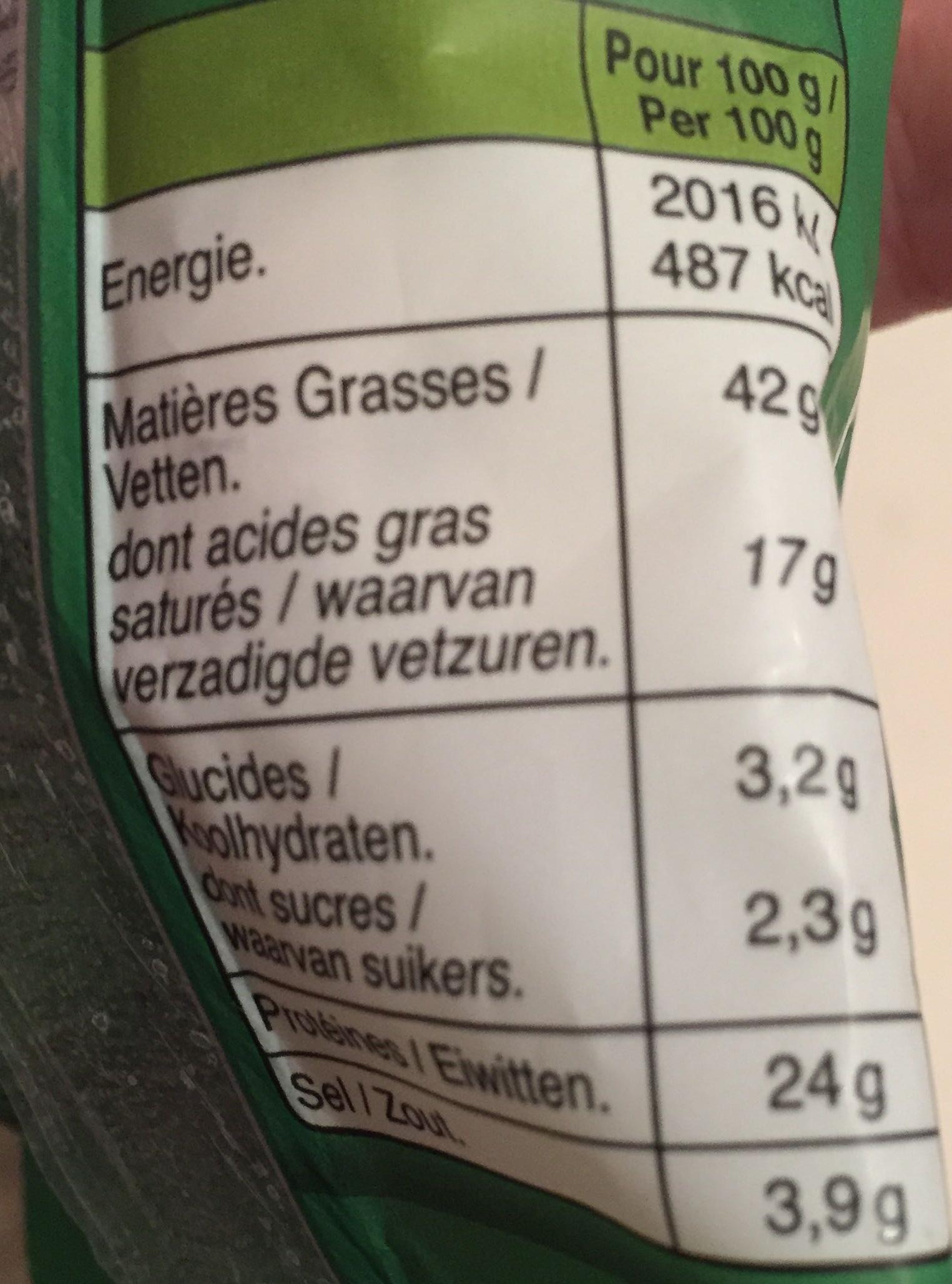 Le Bâton de Berger Noisettes - Informations nutritionnelles
