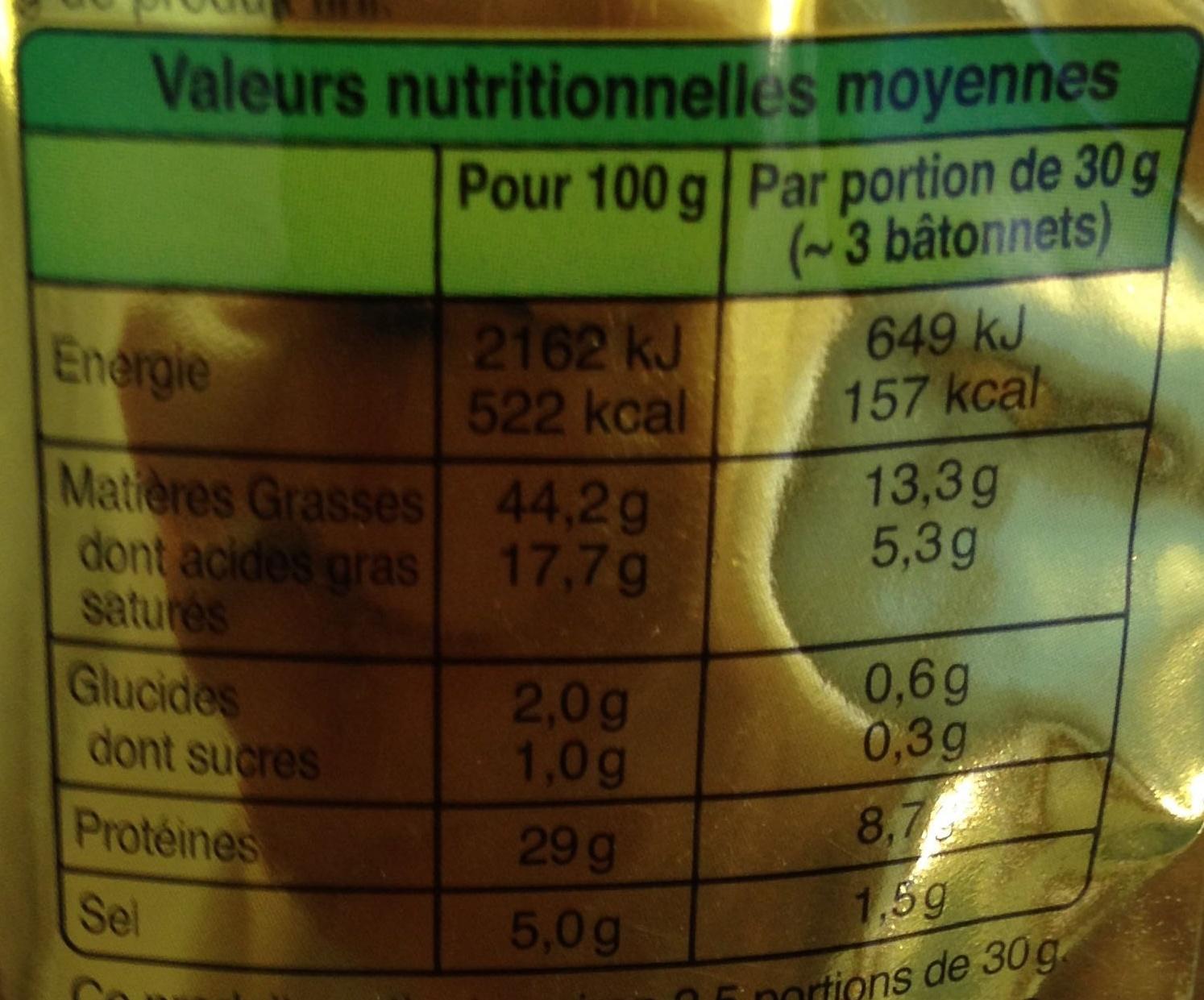 Bâton de Berger Mini Nature (environ 8 Bâtonnets) - Nutrition facts