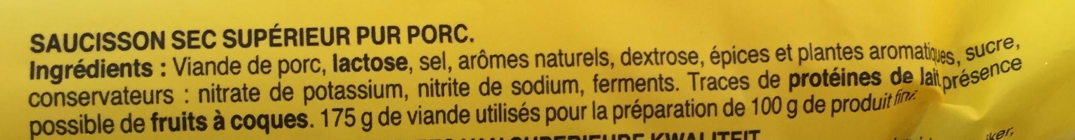 Le bâton de Berger (- 25 % de sel, - 30 % de MG) - Ingredientes