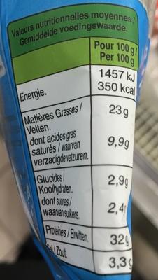 Le bâton de Berger (- 25 % de sel, - 30 % de MG) - Información nutricional