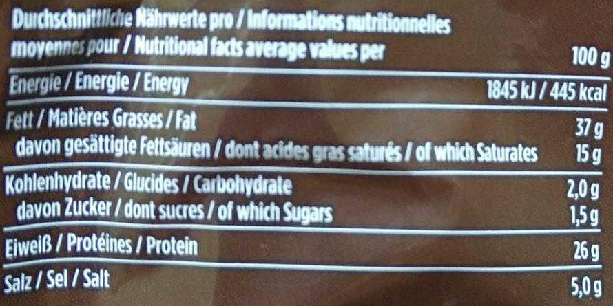 Ring-Salami - Nutrition facts - de