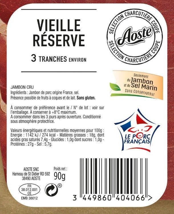 90G Jambon Cru 3 Tranches Aoste - Ingrediënten - fr