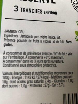 90G Jambon Cru 3 Tranches Aoste - Voedingswaarden - fr