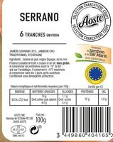 Jambon Serrano STG 6 Tranches Fines Aoste - Ingrédients - fr