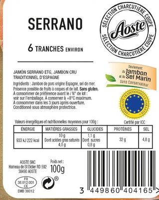 Jambon Serrano STG 6 Tranches Fines Aoste - Ingrédients