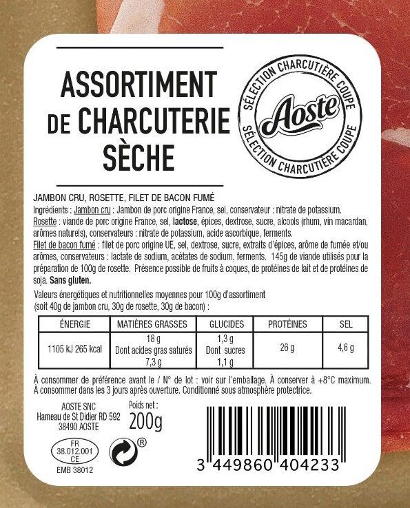 Assortiment de charcuterie sèche Aoste (Jambon cru 4 Tr, Rosette 6 Tr, Bacon fumé 6Tr) - Ingrédients - fr