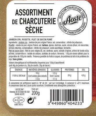 Assortiment de charcuterie sèche Aoste (Jambon cru 4 Tr, Rosette 6 Tr, Bacon fumé 6Tr) - Informations nutritionnelles - fr