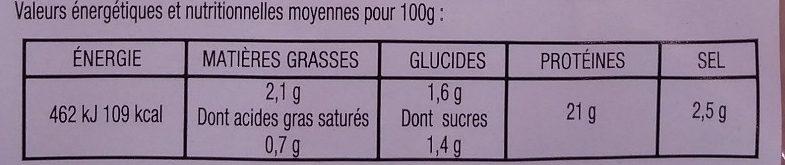 Filet de poulet dentelles - Nutrition facts