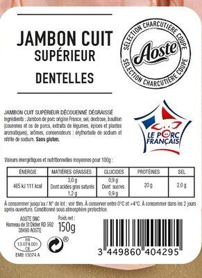 Dentelles de jambon cuit supérieur sans couenne - Voedingswaarden - fr