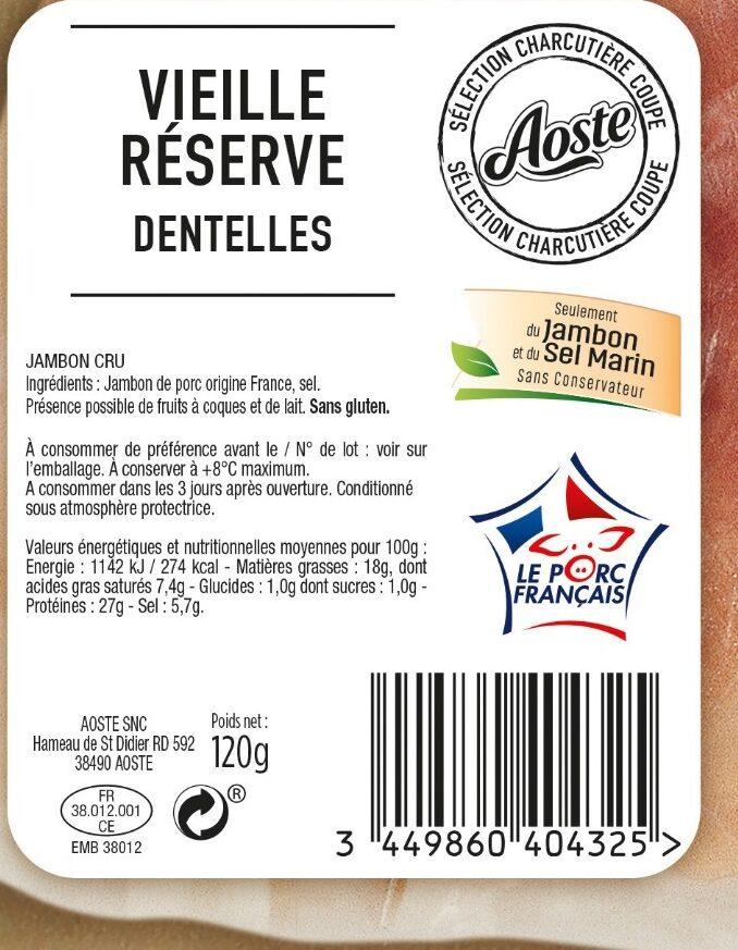 Dentelles de jambon cru Vieille Réserve Aoste - Valori nutrizionali - fr