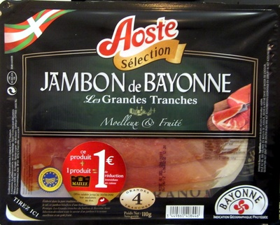 Jambon de Bayonne, Grandes Tranches - Produit