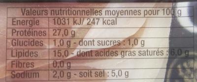 Jambon de Bayonne, Grandes Tranches - Informations nutritionnelles