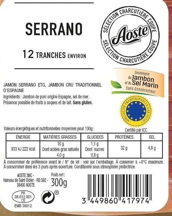 Jambon Serrano 12 tranches Aoste - Ingrédients - fr