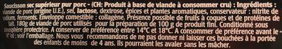 Apérisec Nature Aoste 500 G, 1 Paquet - Ingrédients - fr