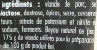 La Saucisse Sèche - Ingrediënten - fr