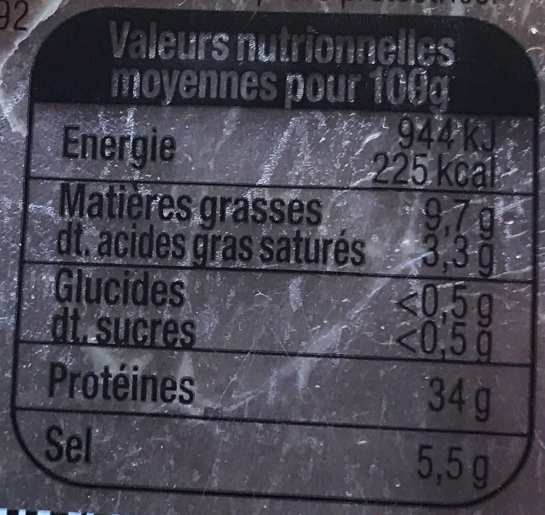 Serrano Le Quart tranché (+10% gratuit) - Informations nutritionnelles
