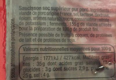 Saucisson sec tranches fines (format familial) - Ingredientes - fr