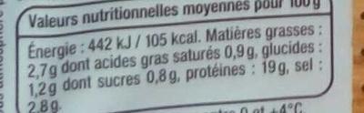 Filet de Poulet petites tranches pratiques - Informations nutritionnelles