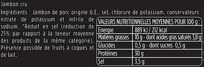 Les Fines et Fondantes -25% de sel - Aoste - Ingrédients - fr