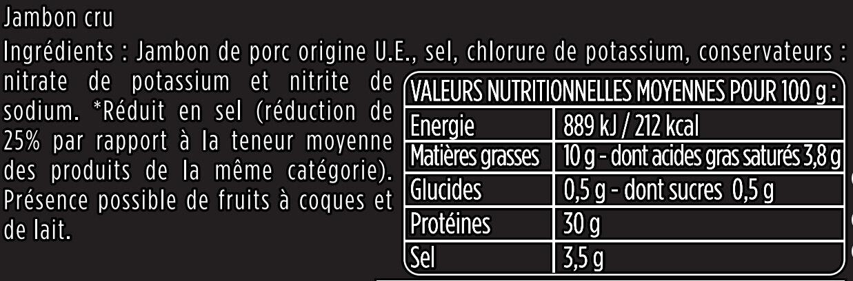 Les Fines et Fondantes -25% de sel - Aoste - Informations nutritionnelles - fr