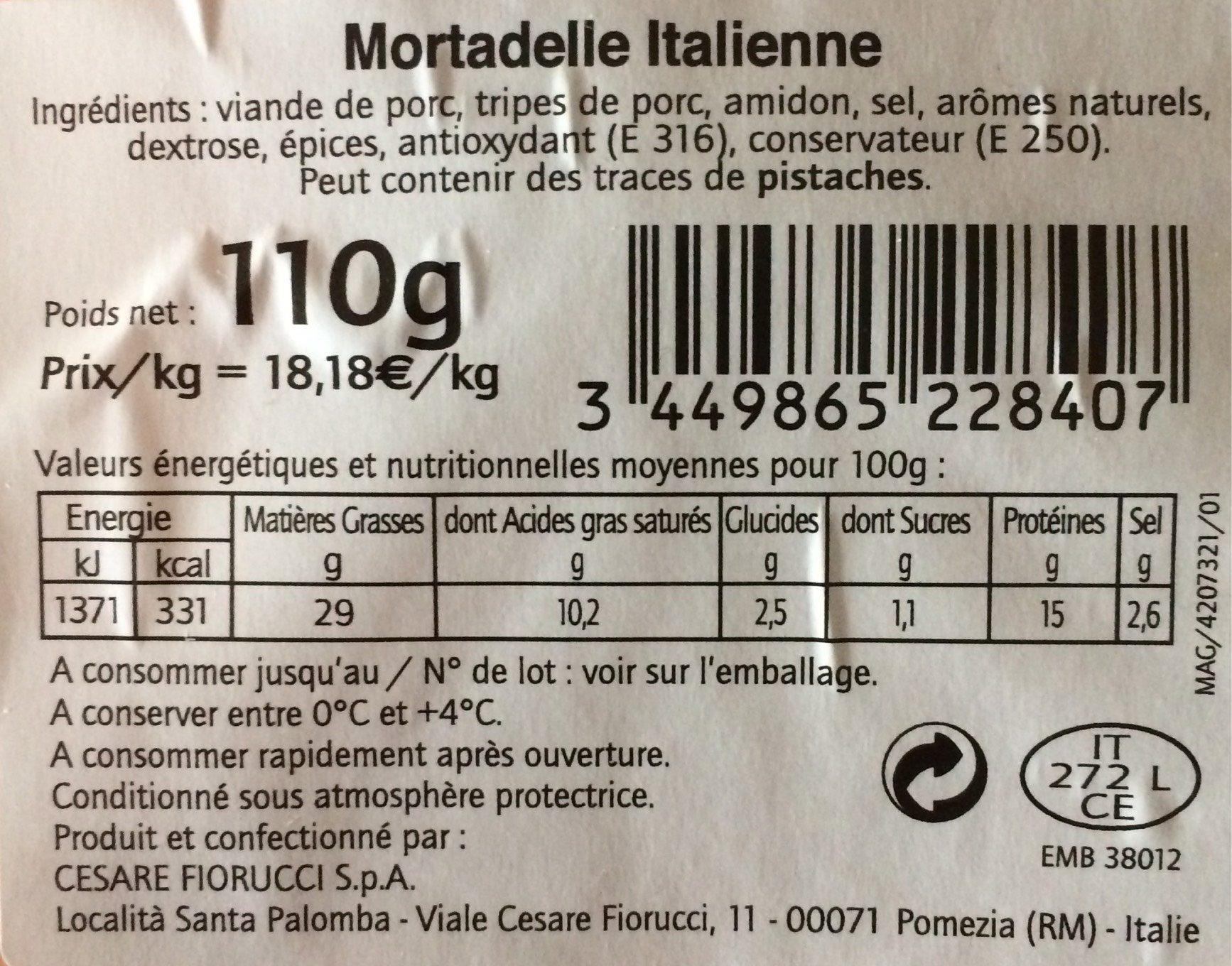 Mortadelle Italienne - Voedingswaarden - fr