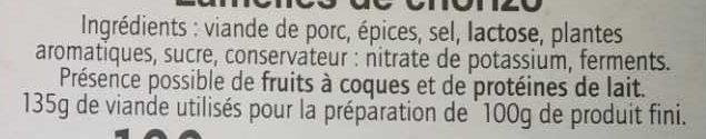 Lamelles de Chorizo - Ingredienti - fr