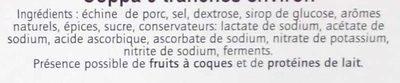 Coppa 9 tranches environ - Ingredienti - fr