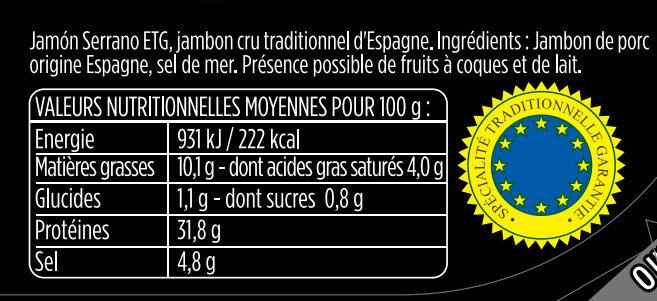 Les Fines et Fondantes - Jambon Serrano- Aoste - Informations nutritionnelles - fr