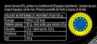 Serrano - Informations nutritionnelles - fr