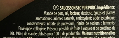 Saveur de France Mini saucisson sec - Ingrédients - fr