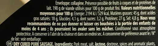 Saveur de France Mini saucisson sec - Informations nutritionnelles - fr