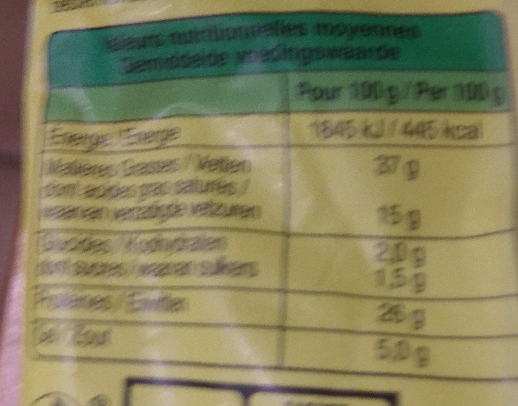 La juste sèche - Informations nutritionnelles - fr