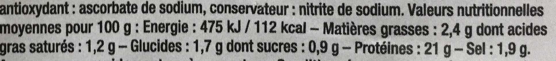 Les tranches de boeuf charolais - Nutrition facts - fr