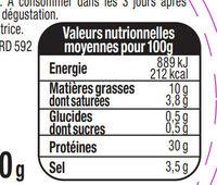 Le Quart Tranché -25% de sel - Aoste - Voedingswaarden - fr
