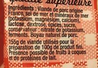 Saucisson sec classique VPF, sel réduit, COCHONOU - Ingrediënten