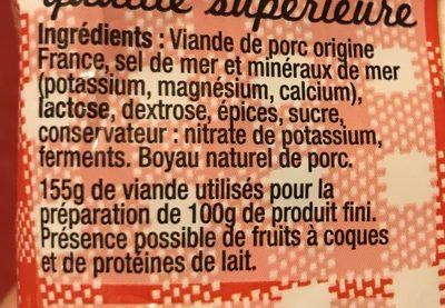 Le classique - Saucisson sec - Ingredientes - fr