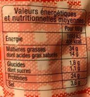 Saucisson sec classique VPF, sel réduit, COCHONOU - Voedigswaarden