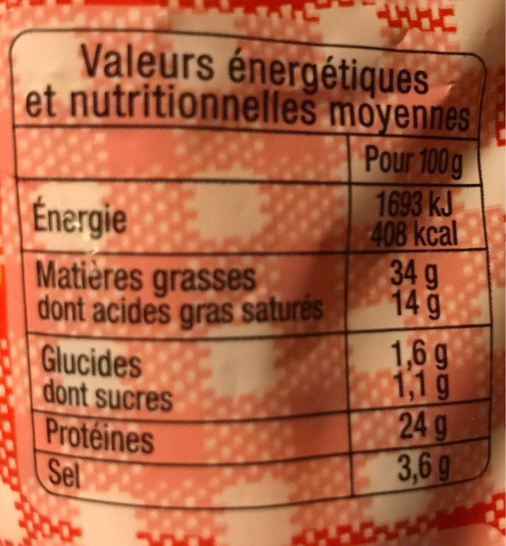 Le classique - Saucisson sec - Información nutricional - fr