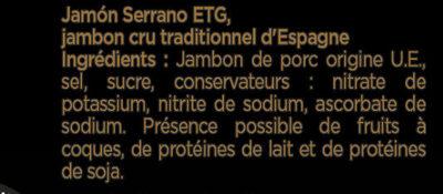 Les Grandes Tranches Jambon Serrano dégraissées - Aoste - Ingrédients - fr