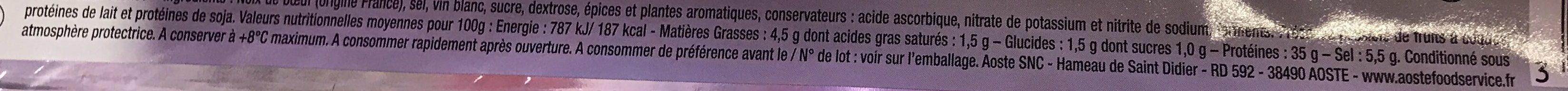 Les Tranches de Bœuf Séché - Nutrition facts - fr