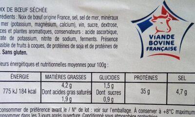 Noix de boeuf séchée - Informations nutritionnelles - fr