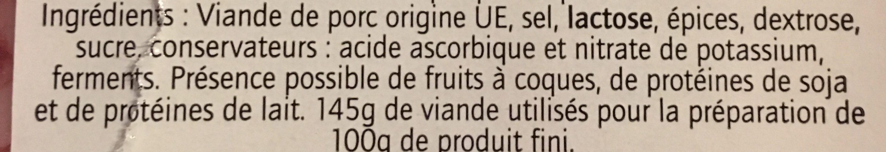 Saucisson nature 24 tranches environ - Ingredienti - fr