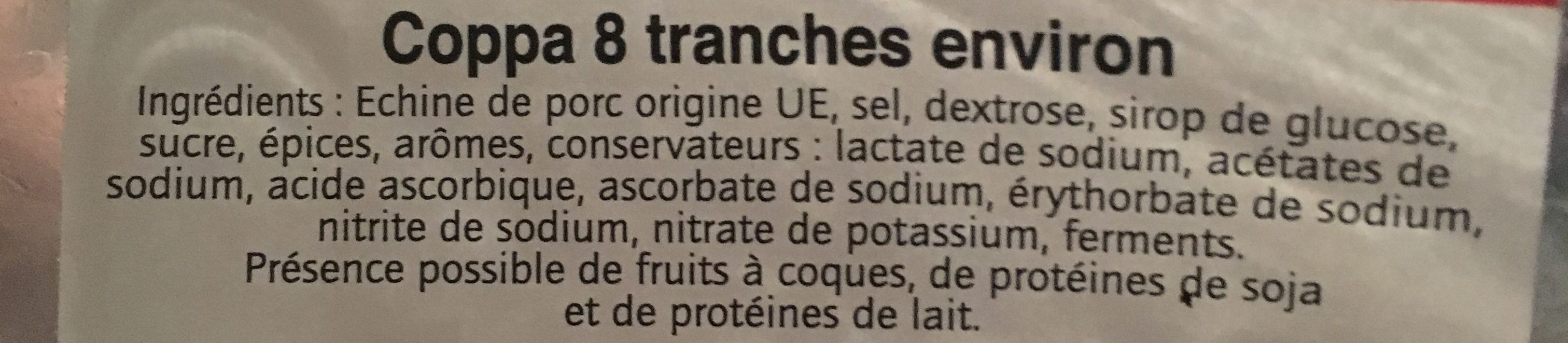 Coppa 8 tranches - Ingredients - fr
